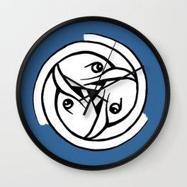 Celtic Art - Bird Head Triskele - on Blue Wall Clock