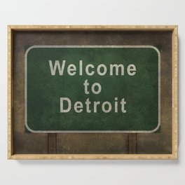 Welcome to Detroit highway road side sign Serving Tray