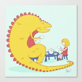 Morning Tea-Rex Canvas Print