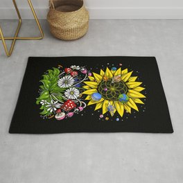 Hippie Sunflower Sacred Geometry Rug