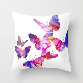 Pink Butterflies Throw Pillow