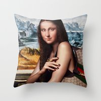 gucci Throw Pillows featuring GIOCONDA by NOXBIL
