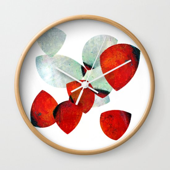 composition in red and grey Wall Clock