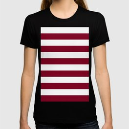 Horizontal Stripes - White and Burgundy Red T-shirt