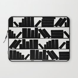 Library Book Shelves, black and white Laptop Sleeve