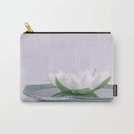 white lotus flower in a green bowl; wisteria white background Carry-All Pouch