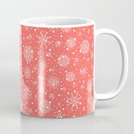 Christmas snowflakes on red background Coffee Mug