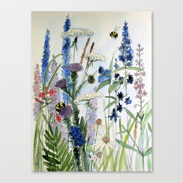 Wildflower in Garden Watercolor Flower Illustration Painting Leinwanddruck