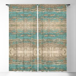 Rustic Wood - Beautiful Weathered Wooden Plank - knotty wood weathered turquoise paint Blackout Curtain