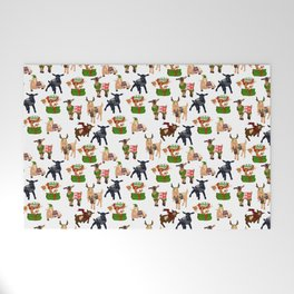 Christmas goats in sweaters repeating seamless pattern Welcome Mat