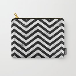Marble Chevron Pattern - Black and White Carry-All Pouch