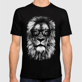 Hipster Lion Black T-shirt