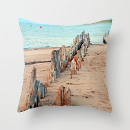 Wharf Remains on the Beach Throw Pillow