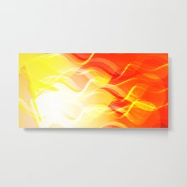 Theme of fire for the banner. Bright red and orange glare on a gentle background for a fabric or pos Metal Print