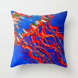 Red Jellyfish Throw Pillow