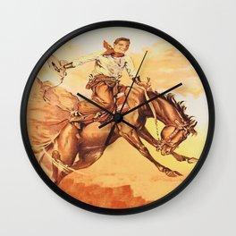 Vintage Western Cowboy On Bucking Horse Wall Clock