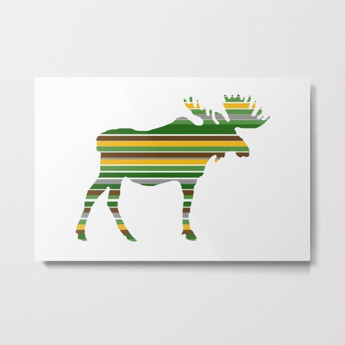 Moose - Forest Colors Metal Print
