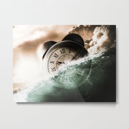 Fantasy Under Water Clock Alarm Clock Time Past Time Of Metal Print