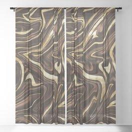 Brown Gold Marble #1 #decor #art #society6 Sheer Curtain