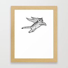 A flying cat Framed Art Print