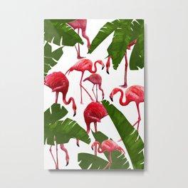 American Pink Flamingo Floral Pattern Metal Print