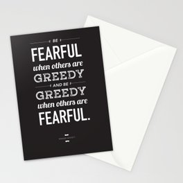 Buffett | Be Fearful When Others Are Greedy | Black Stationery Cards