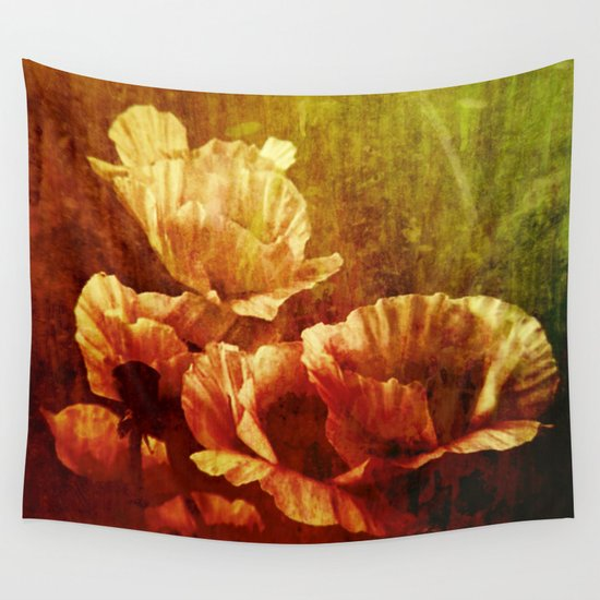 Vintage Poppies Wall Tapestry By Clemm