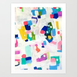 'Sunshine In The City 2' Fun colorful Abstract Acrylic Painting Shapes Pattern Modern Fun Pastel Spots by Ejaaz Haniff Art Print