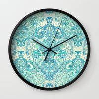 stickers Wall Clocks featuring Botanical Geometry - nature pattern in blue, mint green & cream by micklyn