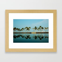 Waikoloa Beach Hawaii.. Morning Palm Reflection Framed Art Print