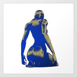 Golden Seated Goddess blue cut version Art Print