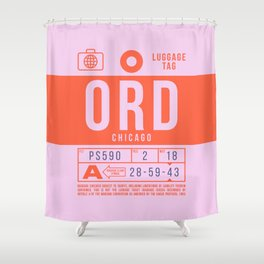 Luggage Tag B - ORD Chicago USA Shower Curtain