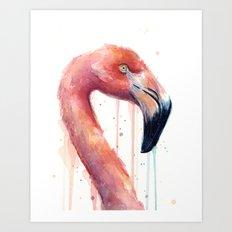 Watercolor Pink Flamingo Illustration | Facing Right Art Print