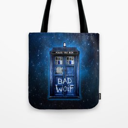 Phone box doctor with Bad wolf graffiti Tote Bag
