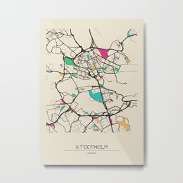 Colorful City Maps: Stockholm, Sweden Metal Print