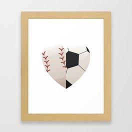 Soccer Baseball Heart Mom - Mothers Day Gifts Framed Art Print