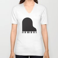 piano V-neck T-shirts featuring Piano by Tony Vazquez