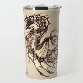 """Tsunami"" by Amber Marine ~ Sea Dragon ~ Graphite & Charcoal Illustration, (Copyright 2005) Travel Mug"