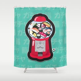 Gumball Sushi   ガチャ ガチャ 鮨 Shower Curtain