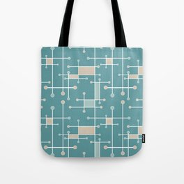 Intersecting Lines in Teal, Tan and Sea Foam Tote Bag
