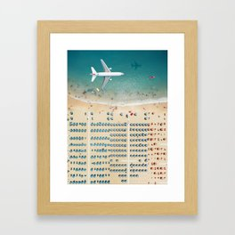 Aerial view airplane flying over the beach in Rimini, Italy Framed Art Print