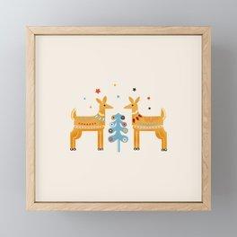 Festive deers -  retro illustration Framed Mini Art Print