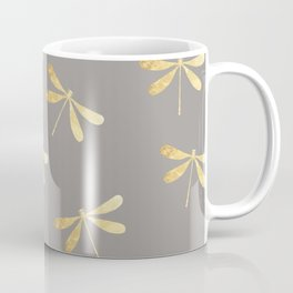 dragonfly pattern: gold & grey Coffee Mug