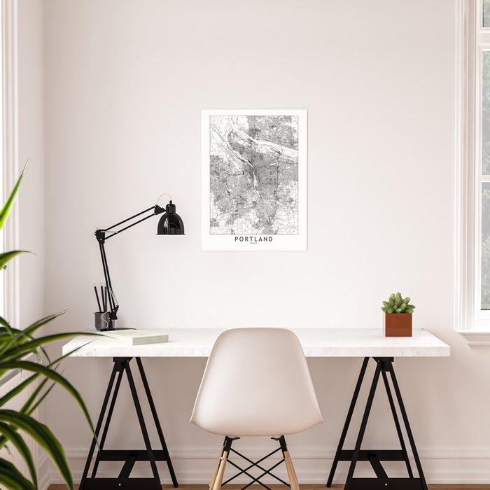 Portland White Map Poster