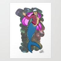 Mermaid Rocket Girl Art Print