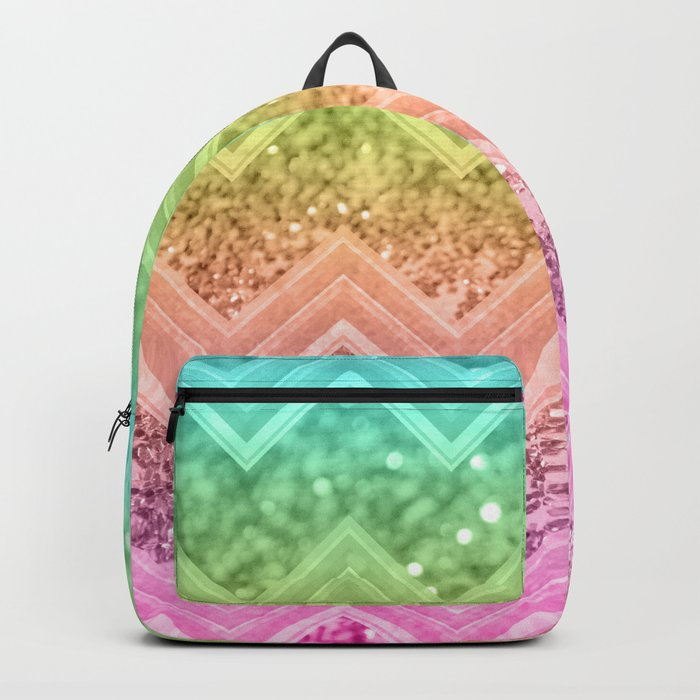 44b3520ac2de Rainbow Glitter Chevron #1 #shiny #decor #art #society6 Backpack by ...