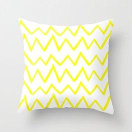 Hand-Drawn Zig Zag (Yellow & White Pattern) Throw Pillow