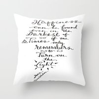dumbledore Throw Pillows featuring Happiness - Dumbledore  by Hayley Lang