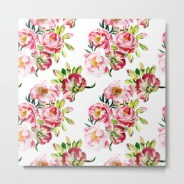 Watercolor pattern with peony flowers Metal Print