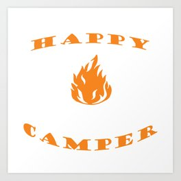 """Nice Heart Camping Shirt For Campers """"Happy Camper"""" T-shirt Design Van Trees Chair Bonfire Mountains Art Print"""